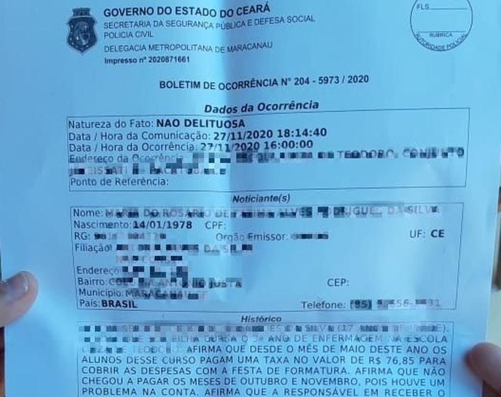Boletim de ocorrência denuncia sumiço de dinheiro de festa de conclusão do ensino médio — Foto: Reprodução