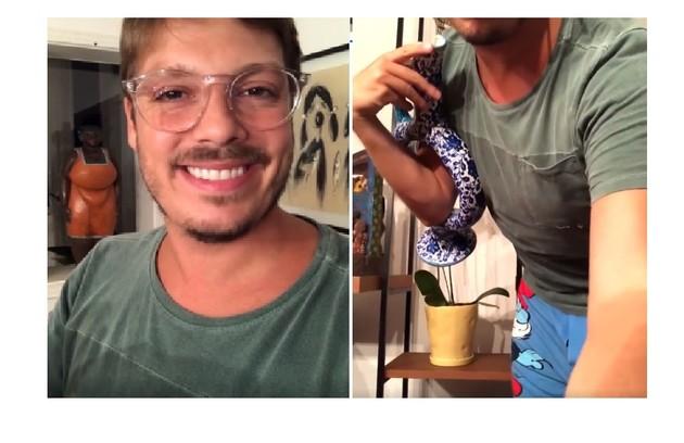 Acidentalmente, Fábio Porchat mostrou que estava de cueca e camisa ao filmar obra de arte: 'Revelei que estou de cuequinha' (Foto: Reprodução)