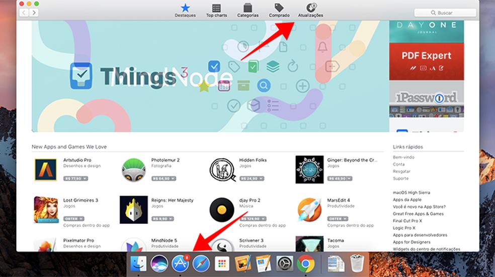 Acesse a aba Atualizações da Mac App Store (Foto: Reprodução/Paulo Alves)