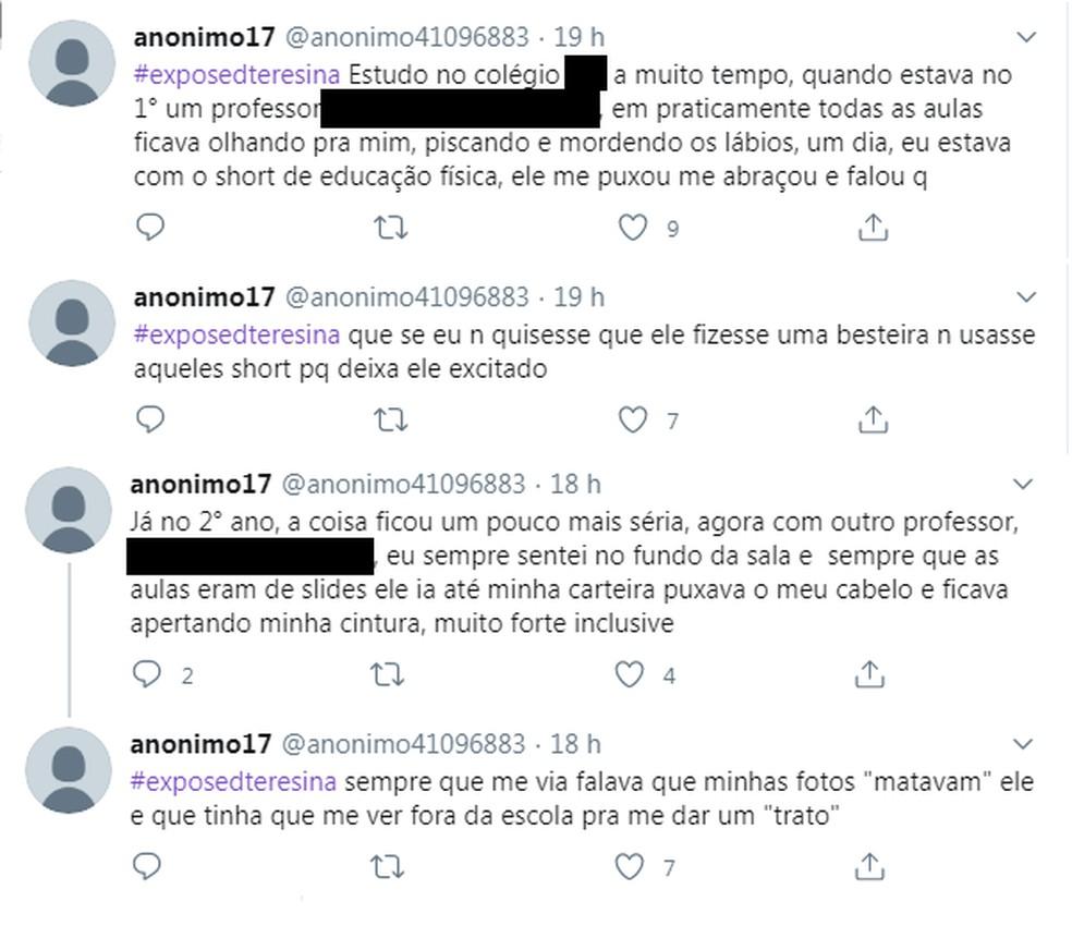 Jovens de Teresina usaram contas anônimas para fazer denúncias pelo Twitter — Foto: Reprodução/Twitter