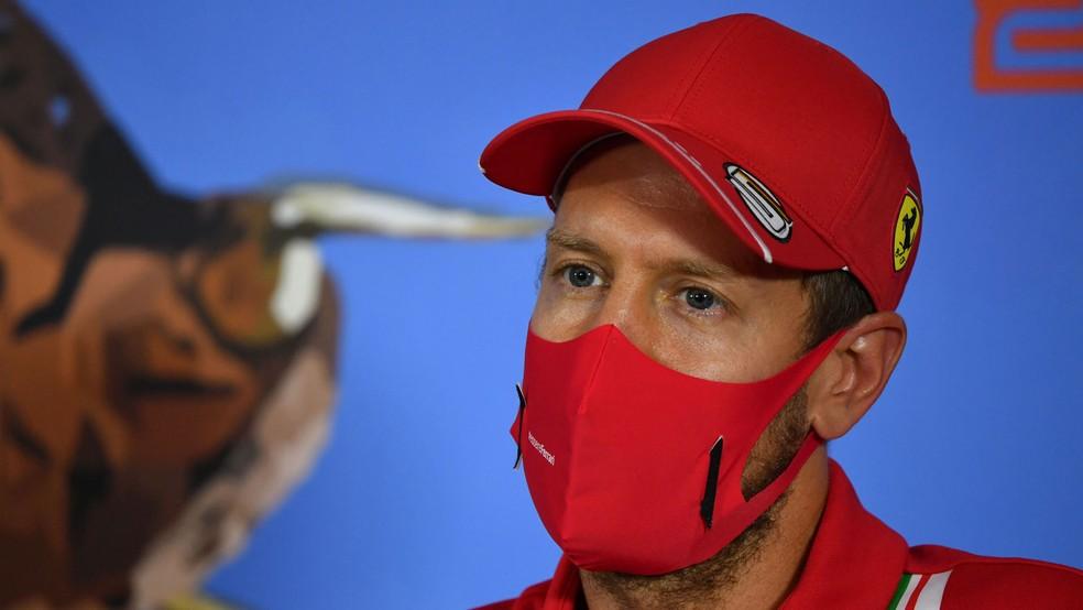 Vettel na coletiva de imprensa do GP da Áustria — Foto: Mark Sutton/AP