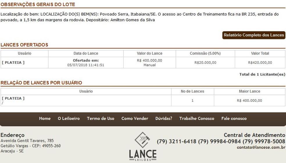 Descrição do lance ofertado pelo CT do Itabaiana (Foto: Reprodução/Lance Leilões)