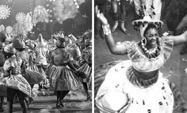 Desfile da Mangueira em 1970 e, à direita, uma imagem de Nair Pequena na Avenida