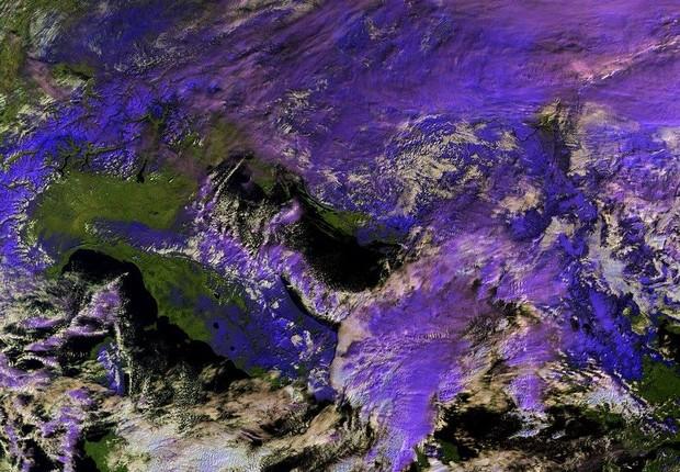 Imagens do Sentinel3, da missão Copernicus (Foto: Reprodução/Facebook/Copernicus EU)