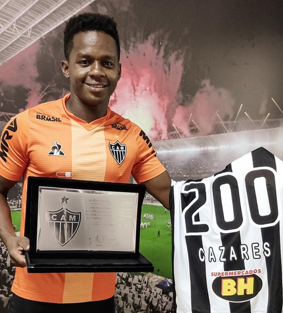 Cazares já completou 200 jogos pelo Atlético — Foto: Reprodução/Atlético