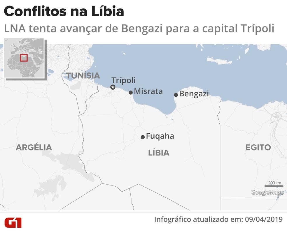Conflitos na Líbia já têm 47 mortos e 181 feridos, segundo a ONU. — Foto: Igor Estrella e Juliane Monteiro/G1