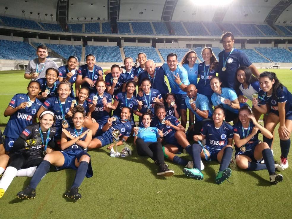 Cruzeiro-RN campeão no futebol feminino — Foto: Oscar Xavier/Inter TV Cabugi