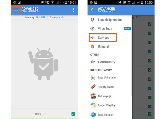 Acesse o serviços do Android pelo app (Foto: Reprodução/Barbara Mannara)