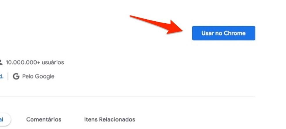 Ação para preparar o download da extensão Google Tradutor para Chrome — Foto: Reprodução/Marvin Costa