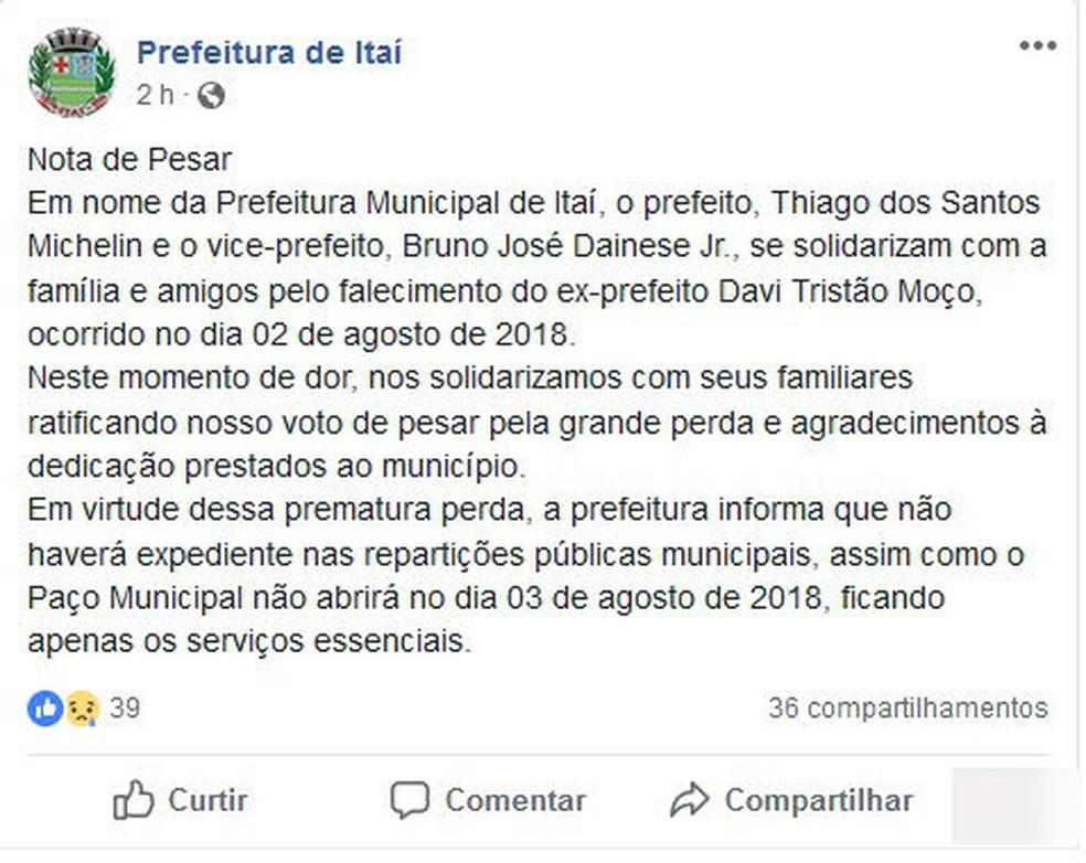 Prefeitura de Itaí divulgou nota de pesar (Foto: Reprodução/Facebook)