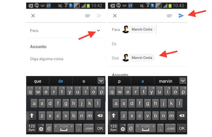 Acessando a opção para enviar e-mails com cópia oculta no Inbox for Gmail pelo celular (Foto: Reprodução/Marvin Costa)