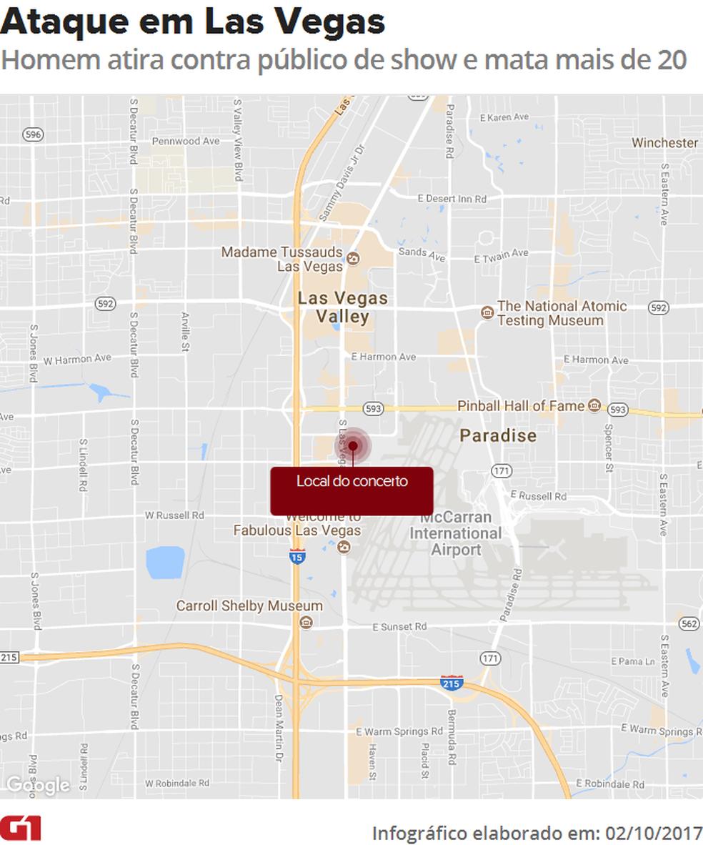 Ataque durante show em Las Vegas deixa  mortos (Foto: Editoria de Arte/G1)