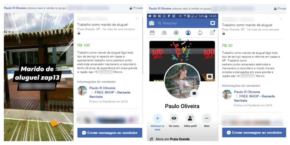 Postagens feitas por Paulo em páginas de divulgação e vendas ajudaram a polícia a localizá-lo em Praia Grande, SP — Foto: Reprodução/Facebook