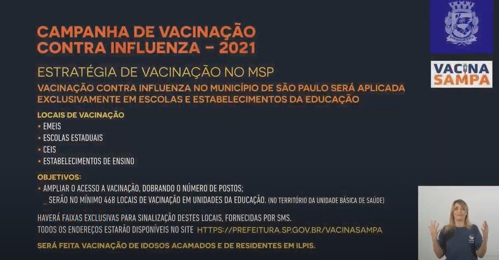 Locais de vacinação contra a gripe na cidade de SP — Foto: Reprodução/Prefeitura de SP