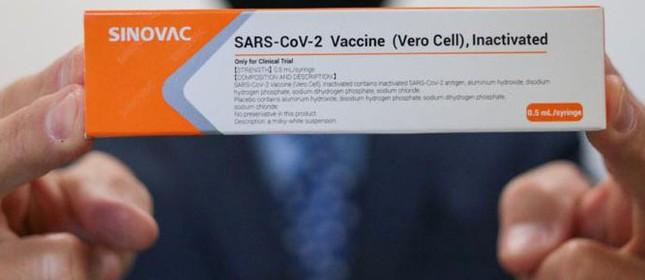 Embalagem da Coronavac, a vacina produzida pelo laboratório chinês Sinovac contra a Covid-19