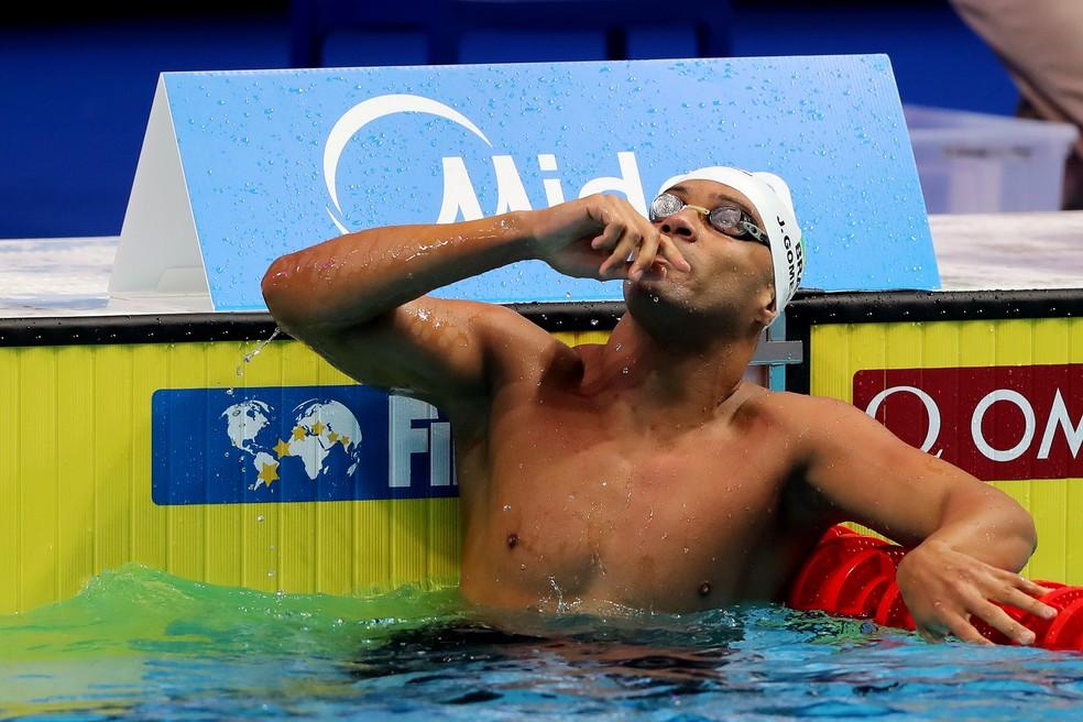 João Gomes Jr. foi prata nos 50m peito no Mundial de Budapeste (Foto: Satiro Sodré/SSPress/CBDA)