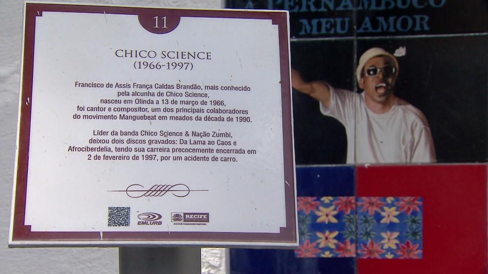 Cantor e compositor Chico Science é uma das personalidades enterradas no Cemitério de Santo Amaro — Foto: Reprodução/TV Globo