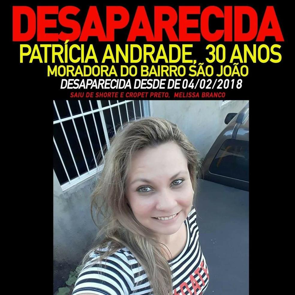 Família está fazendo campanha para encontrar Patrícia (Foto: Divulgação)