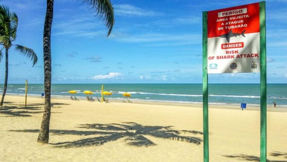 Placa na praia de Boa Viagem, em Recife, faz alerta sobre perigo de ataques de tubarão (Foto: Getty Images)