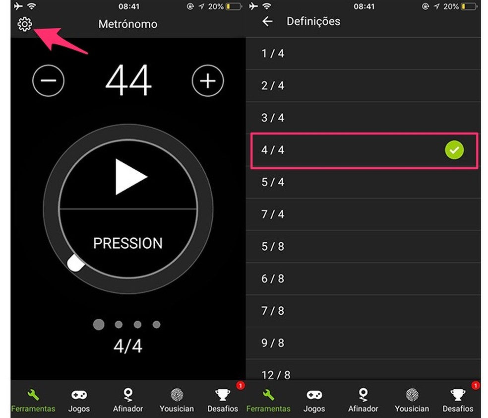 Ação para escolher um andamento musical para o metrônomo do app GuitarTuna (Foto: Reprodução/Marvin Costa)