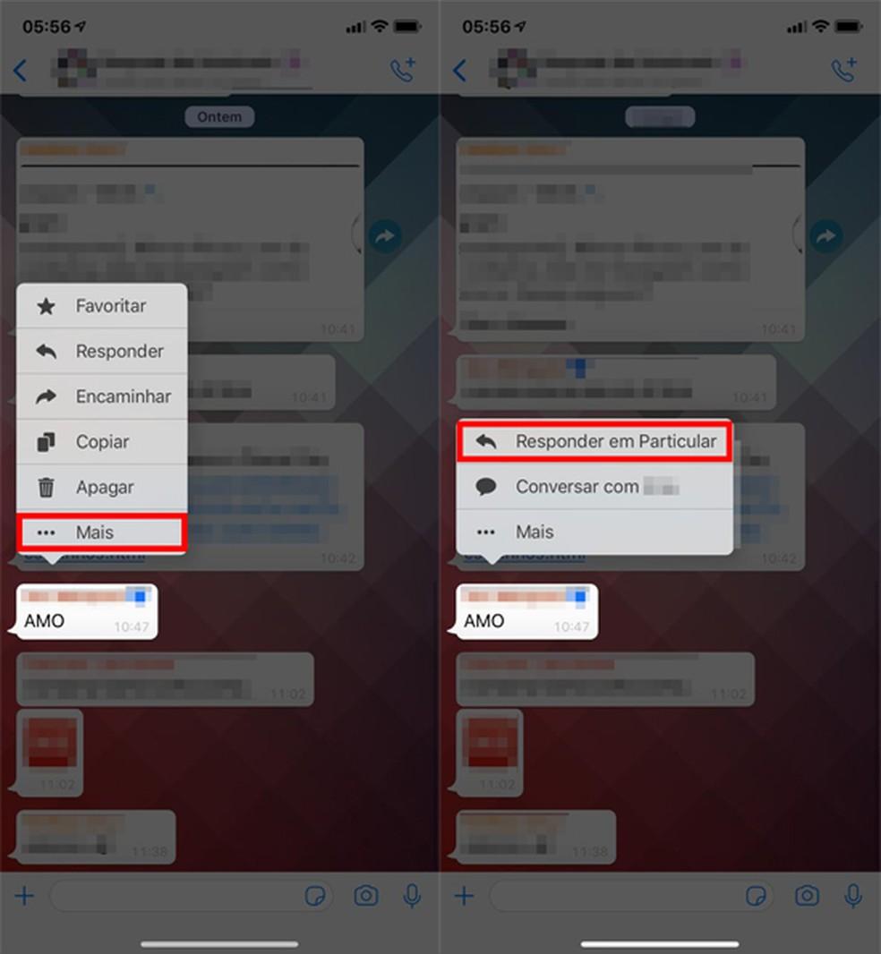 Pressione a mensagem de grupo no WhatsApp para abrir o menu de opções — Foto: Reprodução/Eduardo Manhães