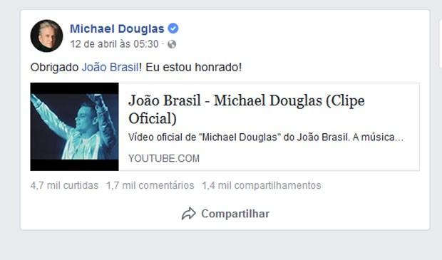 Michael Douglas agradece funkeiro brasileiro  (Foto: Reprodução)