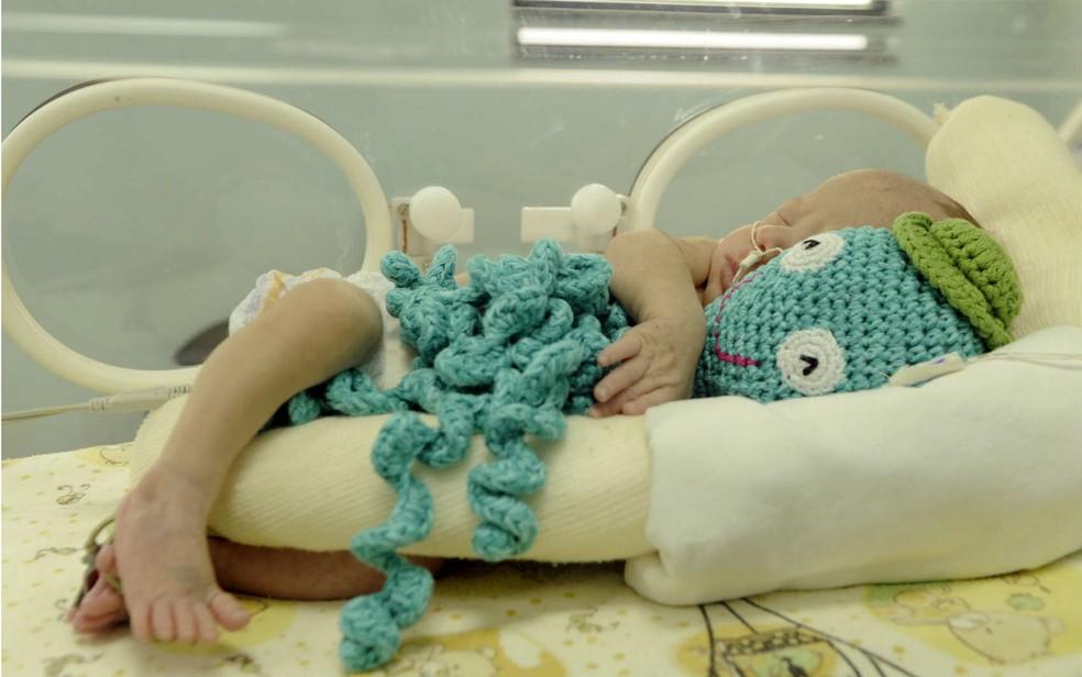 Bebê prematuro com polvo de crochê em UTI do Hospital de Santa Maria, no DF — Foto: Matheus Oliveira/GDF/Divulgação