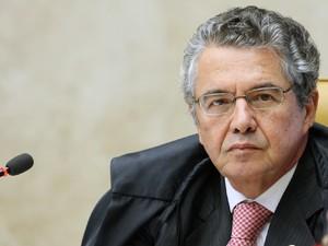 O ministro do Supremo Tribunal Federal Marco Aurélio Mello, durante primeira sessão de julgamento do mensalão (Foto: Nelson Jr./SCO/STF )