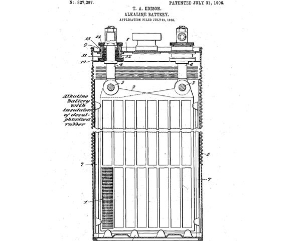 Bateria alcalina Thomas Edison (Foto: Google Patents)