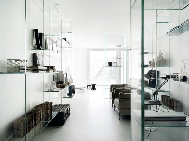 Décor do dia: sala de estar com mobiliário de vidro