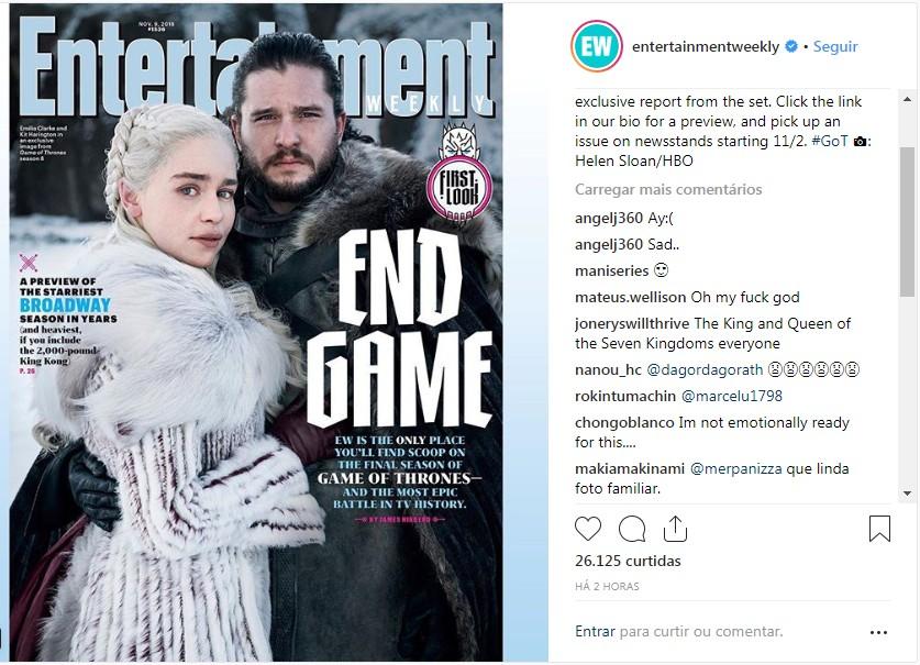 Capa da Entertainment Weekly mostra a primeira imagem oficial da última temporada de GoT (Foto: Reprodução / instagram  entertainmentweekly )