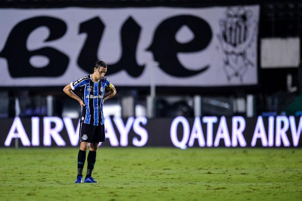 Geromel em Santos x Grêmio — Foto: Staff images/Conmebol