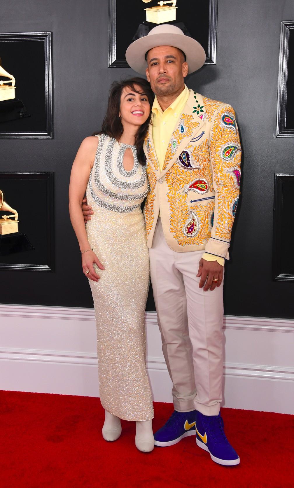 Ben Harper e sua esposa Jacyn Matfus no Grammy 2019 — Foto: Valerie Macon/AFP