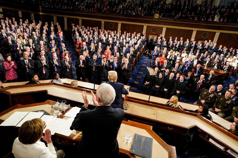 Plenário da Câmara dos EUA cheio para o discurso sobre o Estado da União nesta terça-feira (4) — Foto: Doug Mills/Pool/Reuters