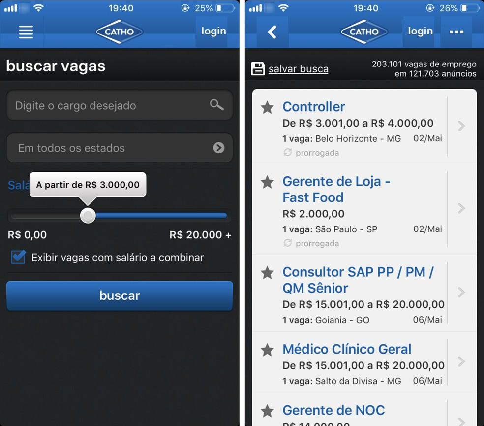 Aplicativo da Catho permite pesquisar vagas de acordo com salário almejado — Foto: Reprodução/Rodrigo Fernandes