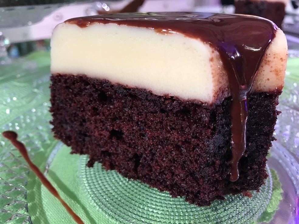 Bolo Pudim de Chocolate — Foto: TV Globo