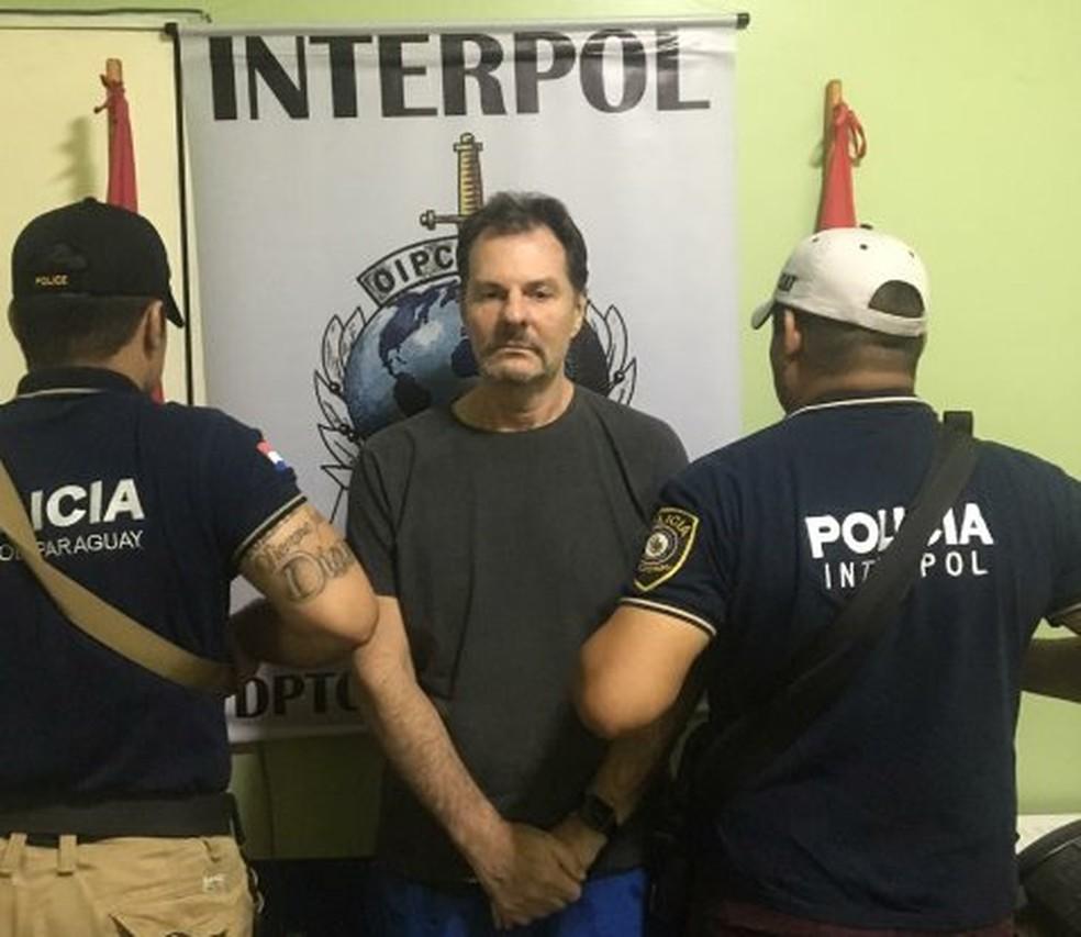 Bruno Farina, doleiro brasileiro preso no Paraguai — Foto: Reprodução/Twitter/Secretaría Nacional de Inteligencia do Paraguai
