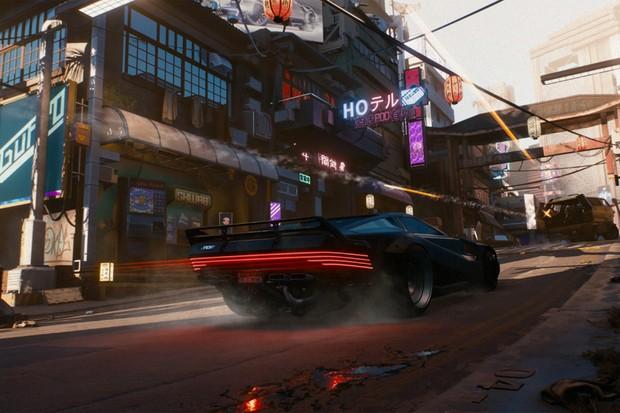 Cyberpunk 2077 aposta em carros futuristas com visual dos anos 80 (Foto: Divulgação)