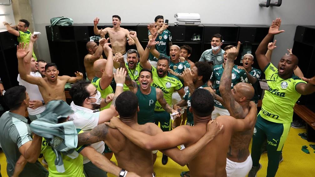 Jogadores do Palmeiras comemoram a classificação à final da Libertadores — Foto: Cesar Greco