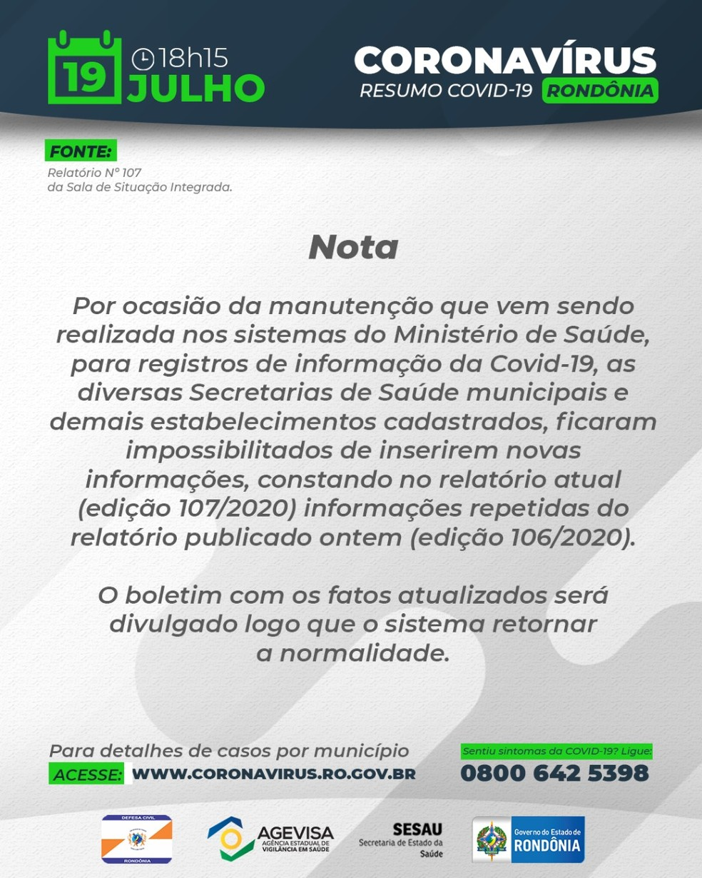 Nota do governo de Rondônia sobre os boletins — Foto: Divulgação