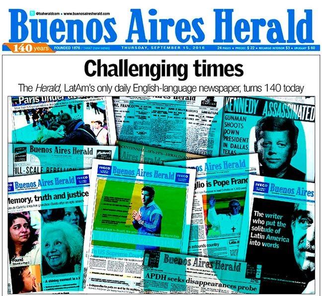 Buenos Aires Herald : 140 anos de história terminam com um twit. (Foto: Buenos Aires Herald / Arquivo)