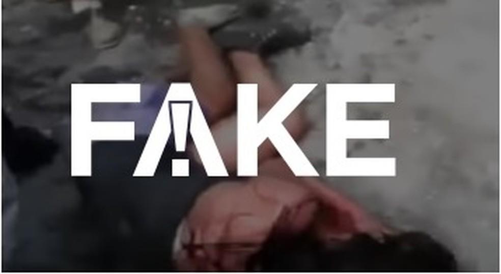É #FAKE que vídeo que mostra mulher queimada viva foi gravado no Afeganistão — Foto: Reprodução