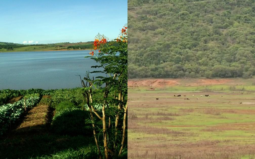 Imagens mostram antes e depois da seca no Lago de Furnas — Foto: Arquivo Pousada do Porto / EPTV