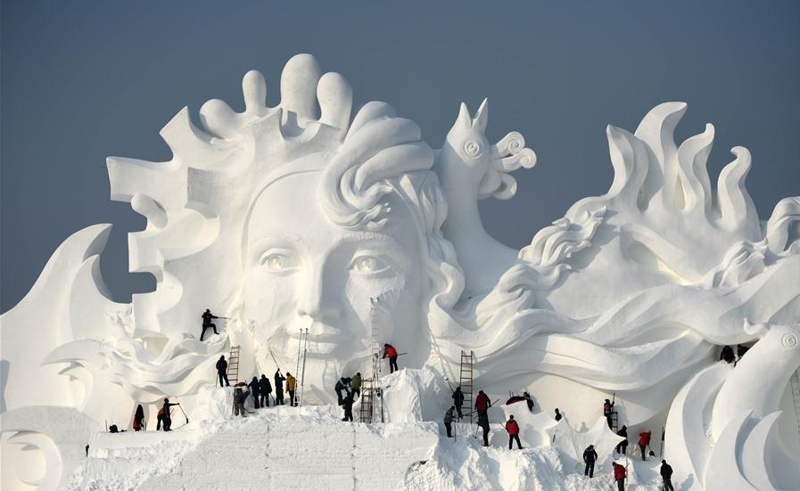 A obra foi erguida para promover tradicional festival do gelo
