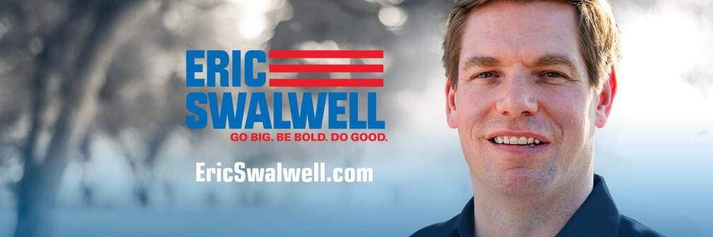 O pré-candidato democrata Eric Swalwell — Foto: Divulgação de campanha/Twitter
