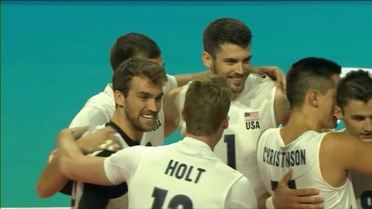 Pontos finais de Estados Unidos 3 x 0 Irã pela Liga das Nações de Vôlei Masculino