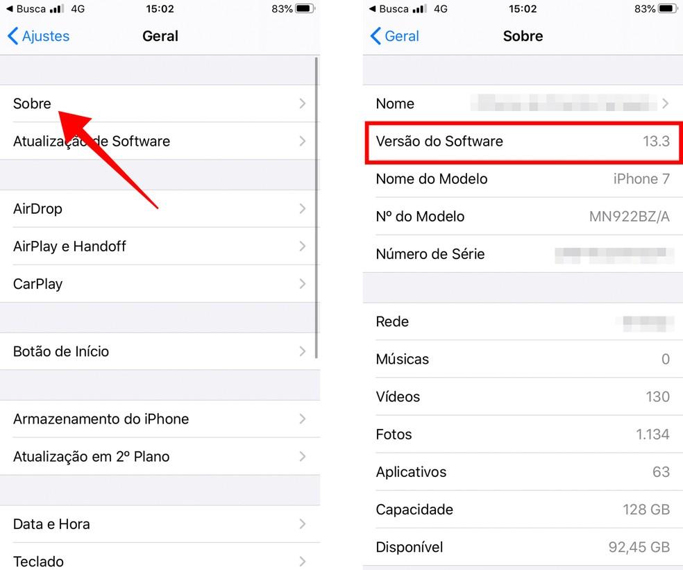 """Descubra a versão do iOS no menu """"Geral"""" do iPhone — Foto: Reprodução/Paulo Alves"""