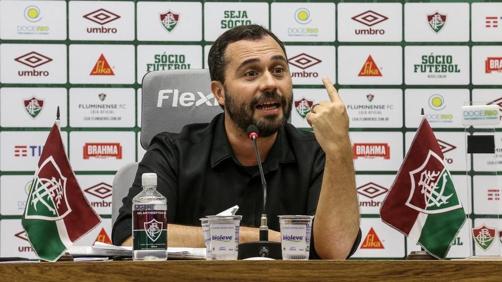 Em junho, Mário Bittencourt disse que Fluminense não voltaria a ter torcida se outros clubes fossem proibidos disso — Foto: Lucas Merçon / FFC