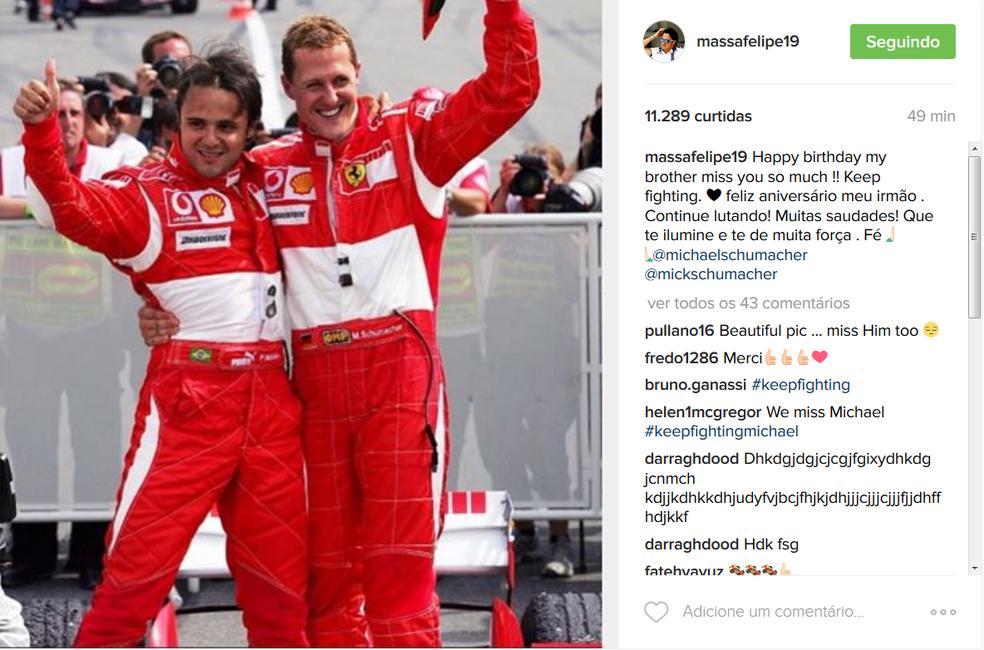 Homenagem de Felipe Massa a Schumacher pelos 48 anos (Foto: Reprodução)