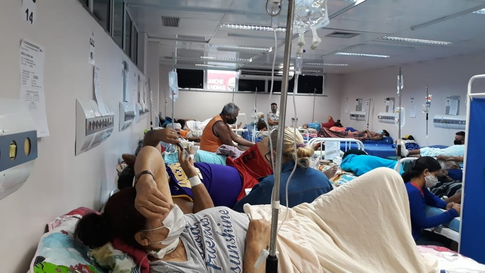 Hospital 28 de Agosto lotado, em Manaus. — Foto: Divulgação/Simeam